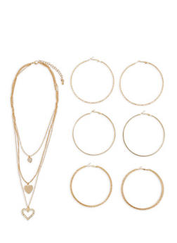 Charm Necklace with Large Hoop Earring Trio - 3122072694873
