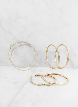 Metallic Hoop Earring Trio - 3122072694970
