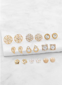 9 Assorted Stud Earrings Set   3122072696238 - 3122072696238
