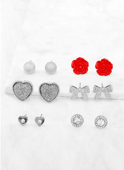 Set of 6 Rhinestone Stud Earrings | 3122072696301 - 3122072696301