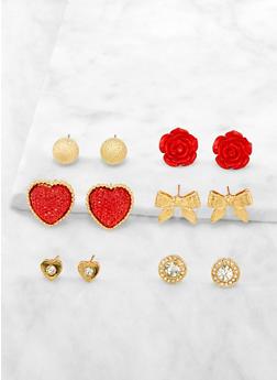 Set of 6 Rhinestone Stud Earrings | 3122072696301 - 3122072696301