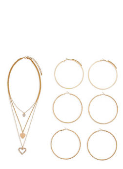Heart Charm Necklace with Extra Large Hoop Earrings - 3122072696306