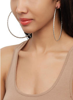 Large Metallic Hoop Earring Trio | 3122072696429 - 3122072696429