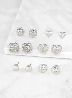 Rhinestone Stud Earrings Set - 3122072697202