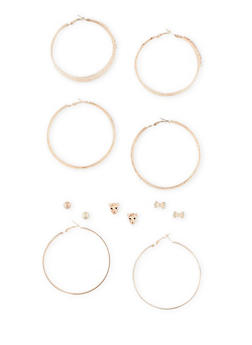 Set of 6 Metallic Hoop and Stud Earrings Set - 3122072697273