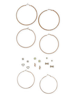 Set of 9 Assorted Stud And Hoop Earrings Set - 3122072697277