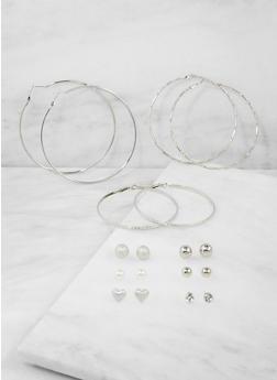 Assorted Stud and Rhinestone Hoop Earrings - 3122072697369