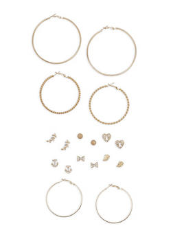Rhinestone Stud and Hoop Earrings Set - 3122072697370