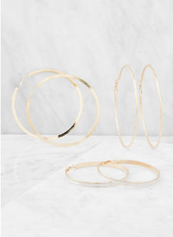 Oversized Metallic and Glitter Hoop Earrings - 3122072697556