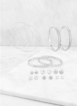 Heart Rhinestone Stud and Hoop Earrings - 3122072697738