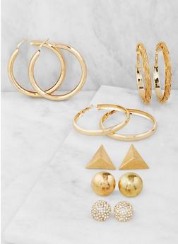 Assorted Metallic Hoop and Stud Earrings Set - 3122072697904