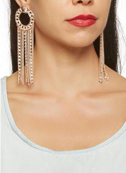 Rhinestone Chain Fringe Earrings - 3122072697916