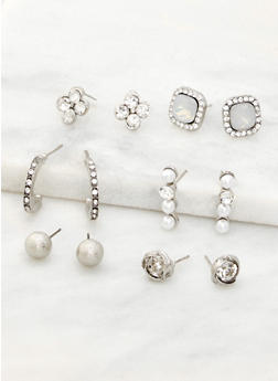 Set of 6 Rhinestone and Faux Pearl Earrings - 3122072698123