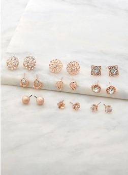 Set of 9 Assorted Stud Earrings - 3122072698326