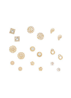 Set of 9 Assorted Stud Earrings - 3122072698326