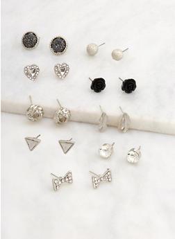 Assorted Set of 9 Stud Earrings - 3122072698328