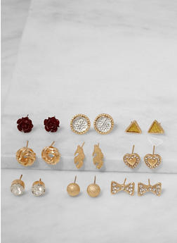Assorted Set of 9 Stud Earrings - 3122072698328