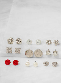 Assorted Set of 9 Stud Earrings - 3122072698332