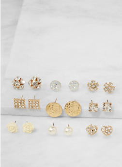 Assorted Set of 9 Stud Earrings - 3122072698332