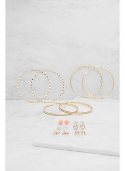 Assorted Stud and Hoop Earrings Set - 3122072698378