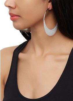 Glitter Moon Hoop Earrings - 3122072698380