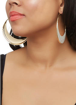 Glitter Moon Hoop Earrings - 3122072698380
