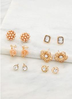 Set of 6 Rhinestone and Beaded Stud Earrings - 3122072698725