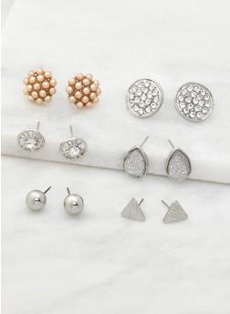 Assorted Set of 6 Stud Earrings - 3122072698726
