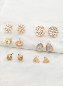Assorted Set of 6 Stud Earrings - 3122072698726