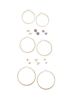 Assorted Stud and Hoop Earrings Set - 3122072698825