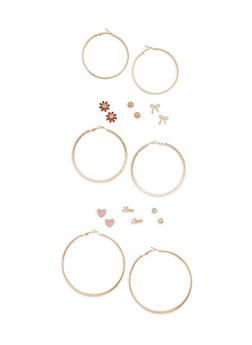 Assorted Metallic Ribbon Stud and Hoop Earrings Set - 3122072698825
