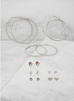 Rhinestone Heart Stud and Hoop Earrings - 3122072698829
