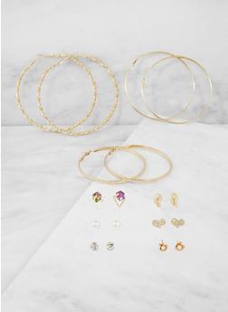 Set of 9 Assorted Stud and Hoop Earrings - 3122072698829