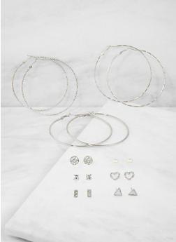 Set of 9 Assorted Hoop and Stud Earrings - 3122072698830