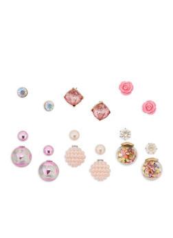 Set of 3 Stud and 3 Reversible Earrings - 3122072698867