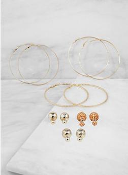 Reversible Studs and Hoop Earrings Set - 3122072698871