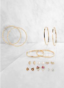 9 Metallic Hoop and Stud Earrings - 3122072699288
