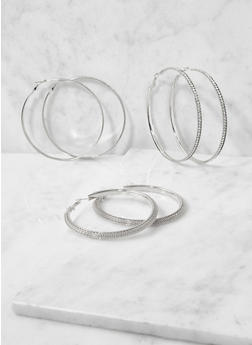 Oversized Metallic Hoop Earring Trio - 3122072699325