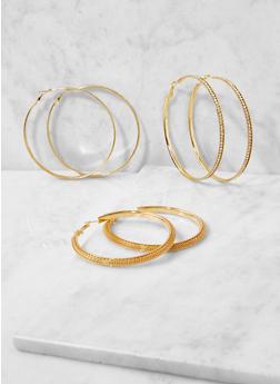 Oversized Metallic Hoop Earring Trio - 3122072699325