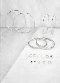 Set of 9 Metallic Rhinestone Stud and Hoop Earrings | 3122072699637 - 3122072699637