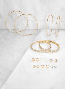 Set of 9 Metallic Rhinestone Stud and Hoop Earrings | 3122072699637 - 3122072699637
