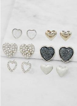 Assorted Heart Stud Earrings Set - 3122072699701