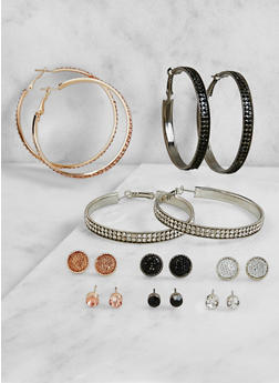 Set of 9 Rhinestone Hoop and Stud Earrings - 3122072699720