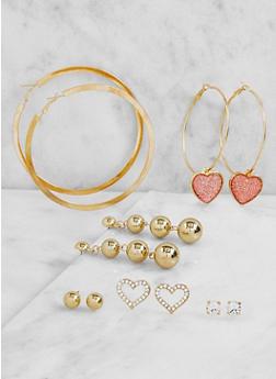Set of Assorted Metallic Hoop and Stud Earrings - 3122072699721