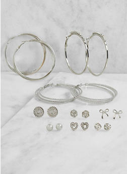 Set of 9 Rhinestone Hoop and Stud Earrings - 3122072699723