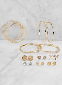 Set of 9 Rhinestone Hoop and Stud Earrings - 3122072699723