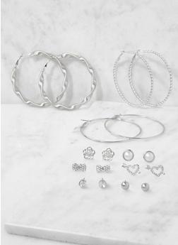 Metallic Stud and Hoop Earrings Set - 3122072699724