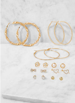 Metallic Stud and Hoop Earrings Set - 3122072699724