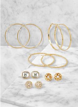 Assorted Hoop and Large Stud Earrings Set - 3122072699743