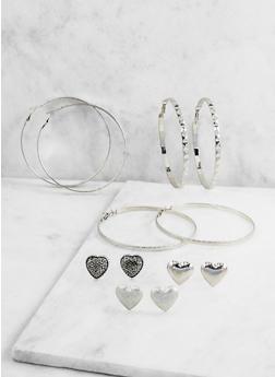 Set of 6 Assorted Stud and Hoop Earrings - 3122072699746